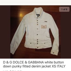 D&G white fitted button down shirt jacket XS NEW